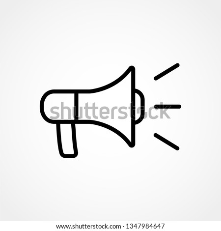 Loudspeaker line icon, megaphone and website button, horn vector graphics, a linear pattern on a white background, eps 10.