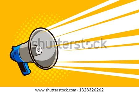 Loudspeaker, megaphone. Advertising, announcement, attention banner. Vector illustration in style comic pop art