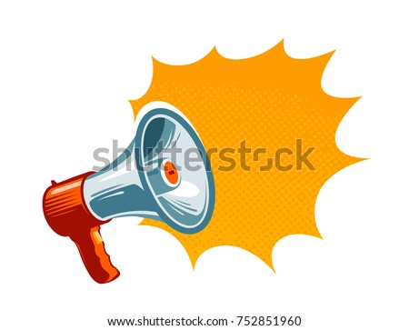 Loudspeaker, megaphone, bullhorn icon or symbol. Advertising, promotion concept. Vector illustration