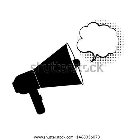 loudspeaker, megaphone  icon vector, Announcement flat design symbol style  on white background with cloud speech bubble. Can be used in web and mobile
