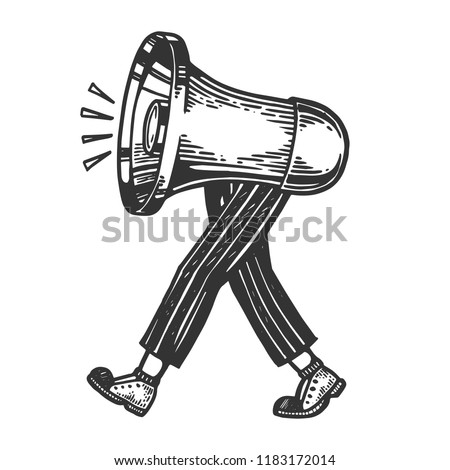 Loudspeaker walks on its feet engraving vector illustration. Scratch board style imitation. Black and white hand drawn image.