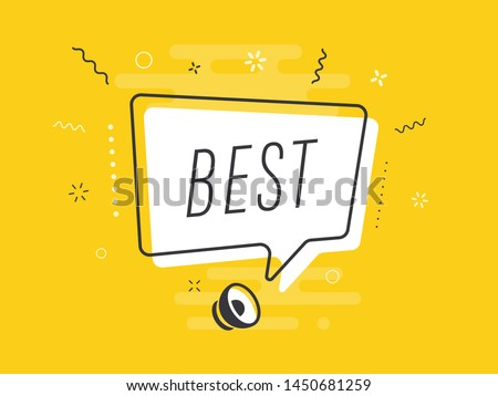 Loudspeaker with text 'best' on Quick Tips badge. Business concept for new ideas creativity and innovative solution. File has clipping path.
