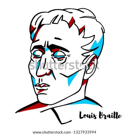 Louis Braille engraved vector portrait with ink contours. French educator and inventor of a system of reading and writing for use by the blind or visually impaired.
