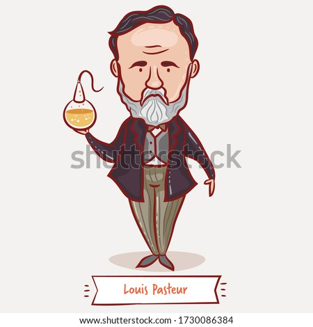 Louis Pasteur with a flask. Vector cartoon children illustration. French microbiologist and chemist. Scientist Portrait.