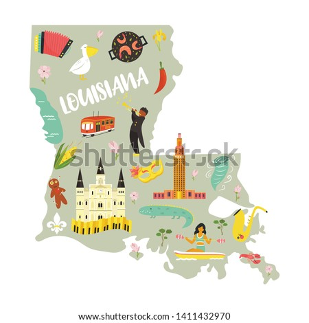 Louisiana Cartoon map with landmarks and symbols on white background. For banners, books, prints, travel guides