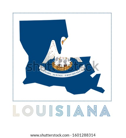Louisiana Logo. Map of Louisiana with us state name and flag. Superb vector illustration.