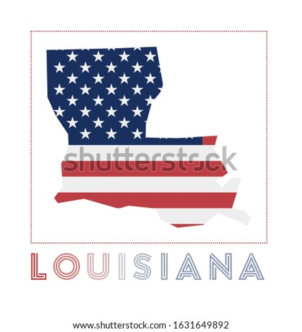 Louisiana Logo. Map of Louisiana with us state name and flag. Trendy vector illustration.
