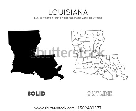 Louisiana map. Blank vector map of the Us State with counties. Borders of Louisiana for your infographic. Vector illustration. Сток-фото ©