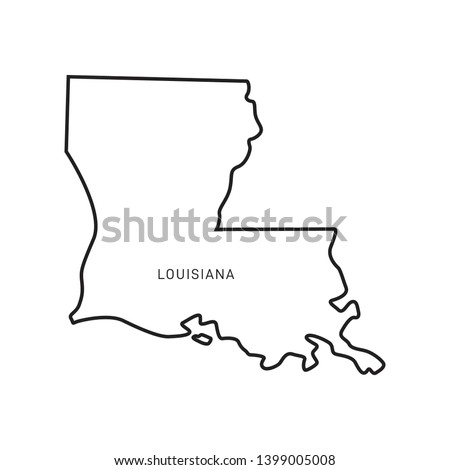 Louisiana Map Outline Vector Design Template. Editable Stroke