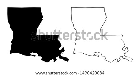 Louisiana State Blank Map Solid Black Color and Outline - Louisiana US Map Vector Flat Icon Isolated on White Background Сток-фото ©
