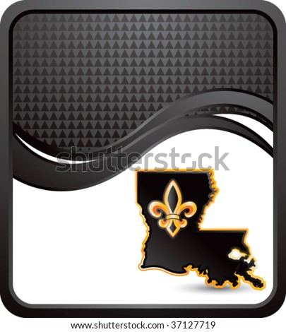 louisiana state icon on black checkered wave background