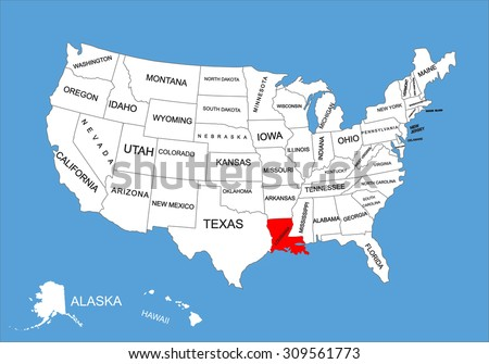 Louisiana State Usa Vector Map Isolated On United States Map