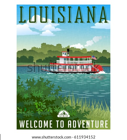 louisiana travel poster or