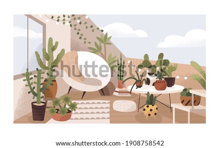 Lounge terrace or balcony garden with plants and furniture. Modern eco-style interior decorated with greenery, potted cactuses, cozy chair and bulbs. Colored flat textured vector illustration. Stock photo ©