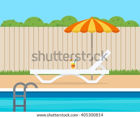 lounge with umbrella near the