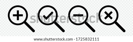 Loupe icons set.Search icons. Isolated magnifying glass icon vector design collection.Checkmark plus minus cross.Magnifier or loupe sign set.Vector illustration
