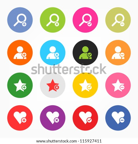 Loupe, user profile, star favorite, heart bookmark icon with plus, delete, check mark and minus sign. 16 popular colors circle shape internet button on gray background. Vector illustration 8 eps