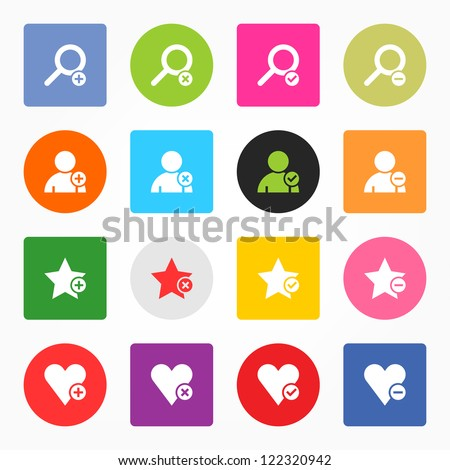 Loupe, user profile, star favorite, heart bookmark icon with plus, delete, check mark and minus sign. 16 popular circle and rounded square internet button. Vector illustration design element 8 eps