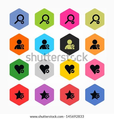 Loupe, user profile, star, heart, plus, delete, check mark, minus sign set 07. Black on color. Simple rounded hexagon internet button. Minimal icon solid plain flat tile. Web design elements 8 eps