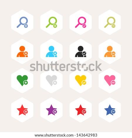 Loupe, user profile, star, heart, plus, delete, check mark, minus sign. Simple rounded hexagon internet button. Minimal metro style icon set. Solid plain color flat tile. Web design elements 8 eps