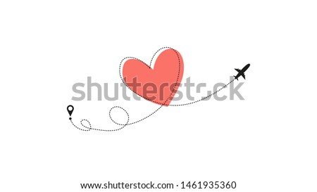 love airplane route heart
