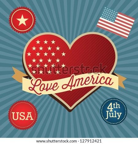 Love America (big heart and Usa flag). Vintage background