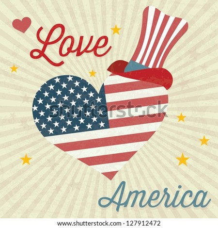Love America (big heart and Usa flag) with commemorative hat. Vintage background