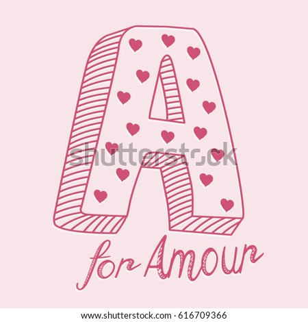 Love amour typography, tee shirt graphics, vectors, message a for amour, girl