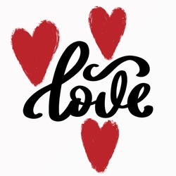 LOVE. An inscription about love. Lettering vector illustration for poster, postcard, banner Valentine's Day, wedding. Hand-drawn word-love with hearts. Print for T-shirts.