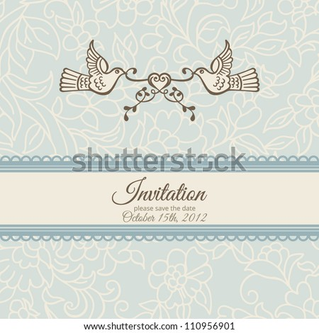 Love and birds: vector template for anniversary card, wedding ornament invitation. Elegant floral delicate blue background.