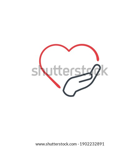 Love and Care icon Vector Logo Template Illustration Design. Put your hand on the hart. swear or vow icon. Stock Vector Stockfoto ©