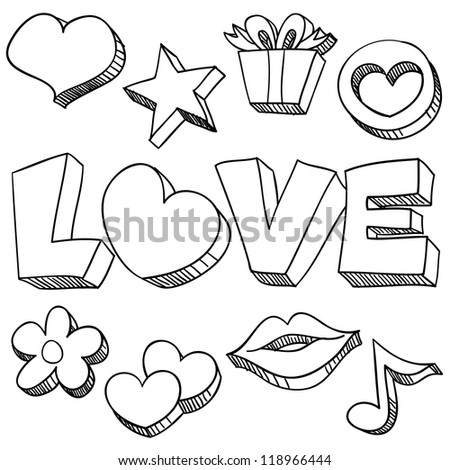 love and care icons in black
