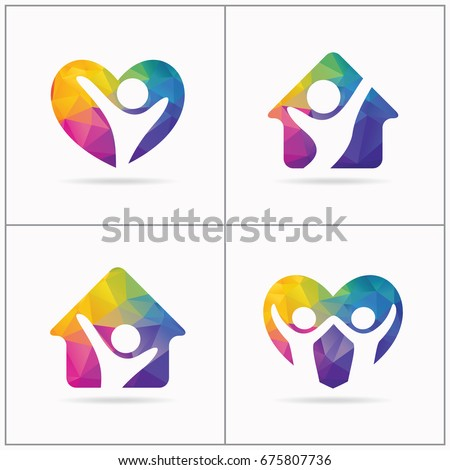 Love and care people vector design. Support and charity logos.