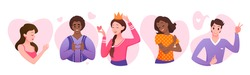Love and care yourself concept vector illustration set. Cartoon round and heart shaped avatars collection with happy man woman character loving own body, hugging and meditating isolated on white
