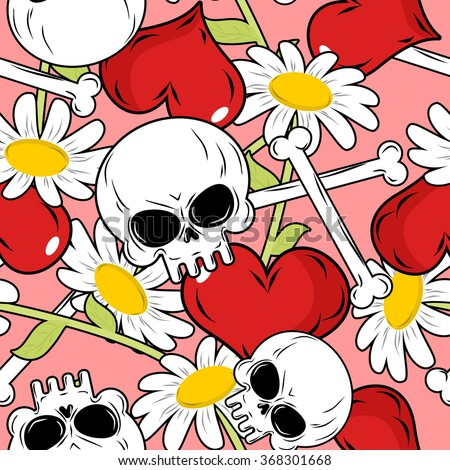 love and death seamless pattern