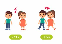 Love and hate antonyms flashcard vector template. Word card for english language learning with flat characters. Opposites concept. Girl and boy quarrel and love illustration with typography
