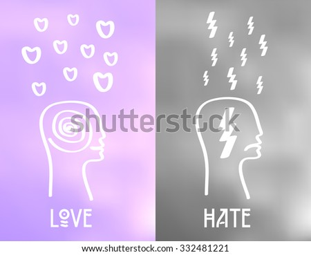 love and hate emotion icons on