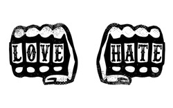 love and hate hands with brass knuckles, knuckle duster fists with words love and hate stamped