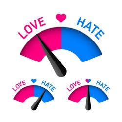 Love and Hate meter, Valentines Day design element, vector illustration