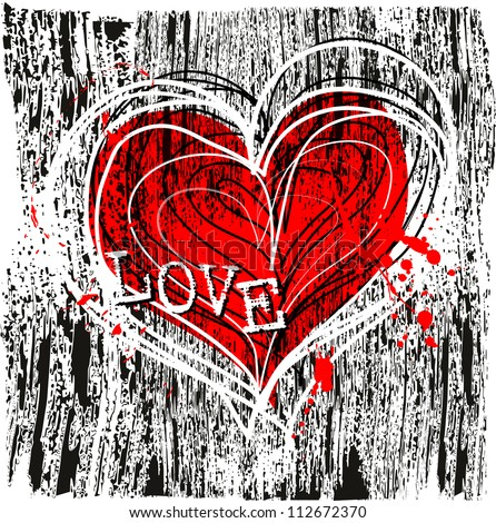 love and heart design  grungy