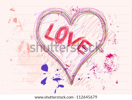 Love and heart sketch, vector illustration
