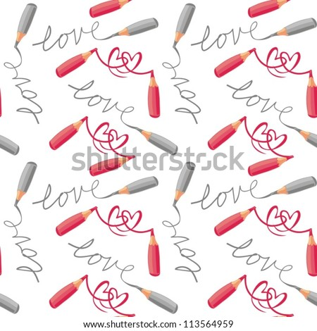 love and hearts red gray crayons  seamless pattern