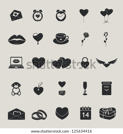 love and saint valentine's day vector icons set