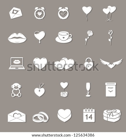 love and saint valentine's day vector web icons set with shadows