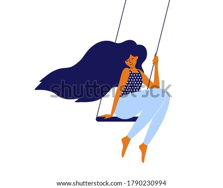 Love and time for yourself. Happy woman, self care, slow life concept. Cute girl with long hair sitting on swing. Young smiling mother takes break and relaxes. Wellbeing, body care vector illustration