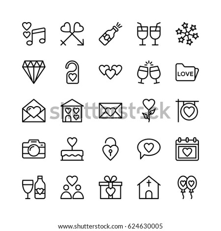 Love and Valentine Line Vector Icons 2