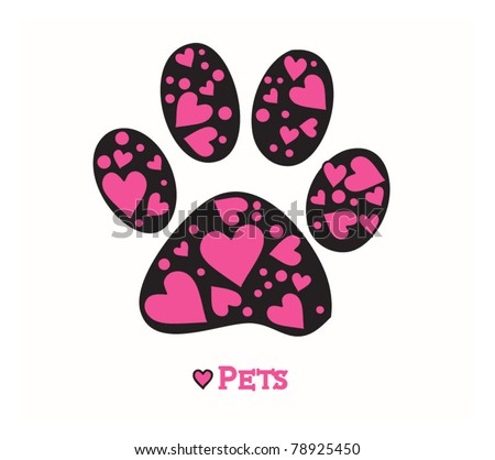 Love Animals Paw print of dog