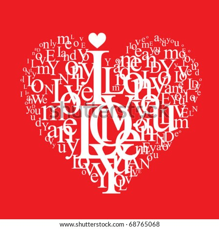 love background - typographic heart shape