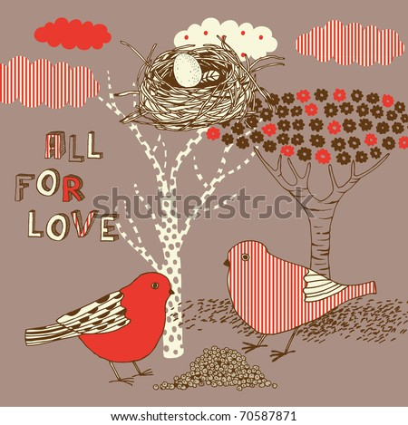 love background with birds