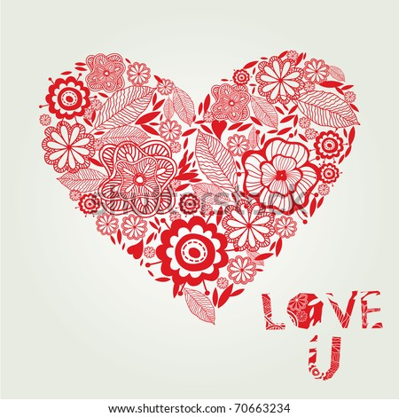 Love background with floral heart